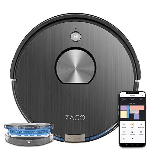 ZACO A10 Saugroboter mit Wischfunktion (Neuheit 2021), 360° Laser-Navigation, Alexa & Google Home Steuerung, Mapping, No-Go-Zonen,...