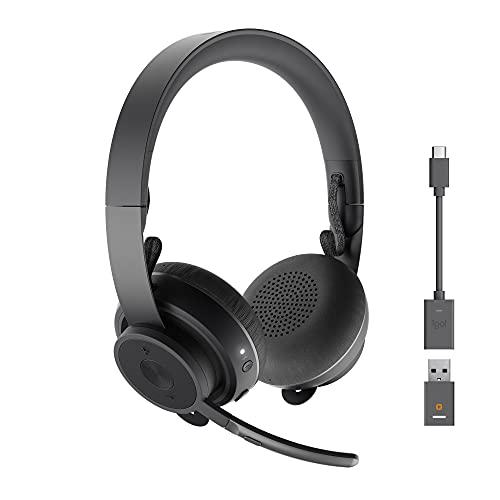 Logitech Zone Kabelloses Business Headset (Hervorragendem Sound, Mikrofon mit Flip-Stummschalter und kabellosem Qi-Aufladen) graphit