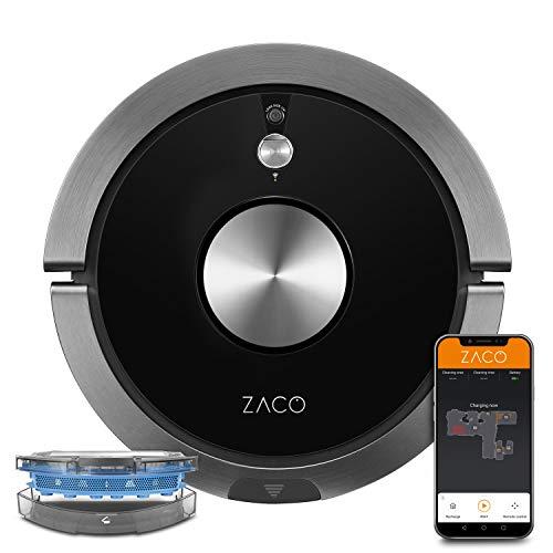 ZACO A9sPro Saugroboter mit Wischfunktion, App & Alexa Steuerung, Mapping, bis zu 2 Std saugen oder wischen, Staubsauger-Roboter für...