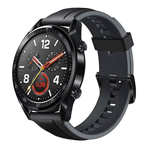 Huawei Watch GT Sport Smartwatch (46 mm Amoled Touchscreen, GPS, Fitness Tracker, Herzfrequenzmessung, 5 ATM wasserdicht) Schwarz